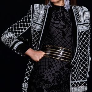 Balmain Dresses - BALMAIN x HM Velvet Beaded Jacket Dress Size US 02